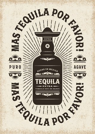 Vintage Mas Tequila Por Favor (More Tequila Please) Typography
