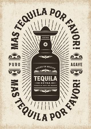 Vintage Mas Tequila Por Favour (Plus Tequila Please) Typographie