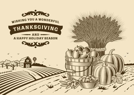Thanksgiving vintage brown card. Illustration