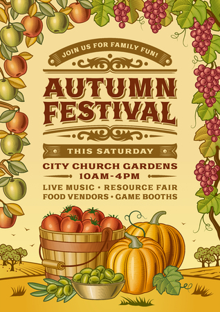 Vintage autumn festival poster. Illustration