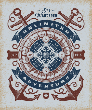 Vintage Unlimited Adventure Typography Ilustracja