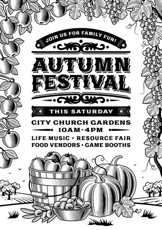Vintage Autumn Festival Poster Black And White