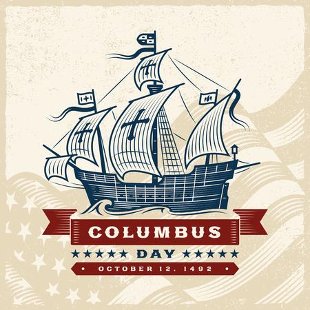 Vintage Columbus Day banner. Illustration