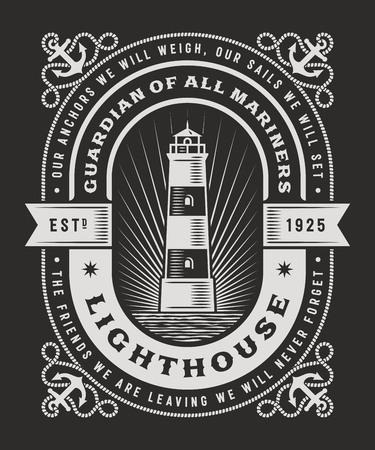 Vintage Lighthouse Typography On Black Background