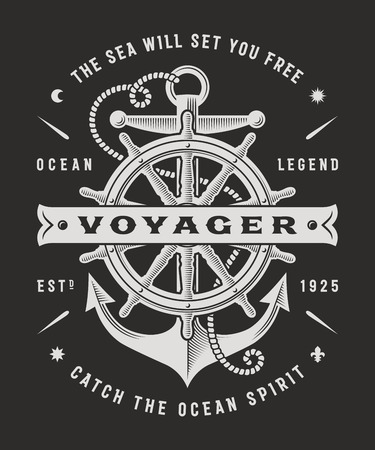 Vintage Nautical Voyager Typography On Black Background
