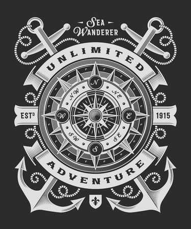 Vintage onbeperkte avontuur typografie op zwarte achtergrond