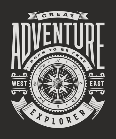 Vintage grote avontuur typografie op zwarte achtergrond