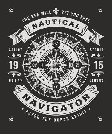 Vintage Nautische Navigator typografie op zwarte achtergrond