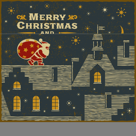 Christmas card with Santa Claus on the roof vector iilustration.