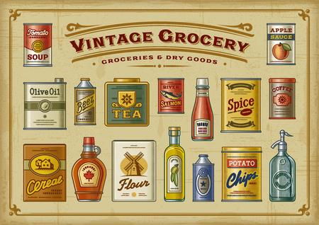Vintage Grocery Set Illustration