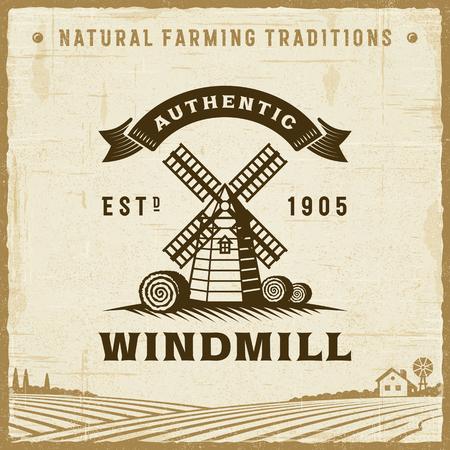 Etiqueta auténtica del molino de viento de la vendimia Foto de archivo - 90280851