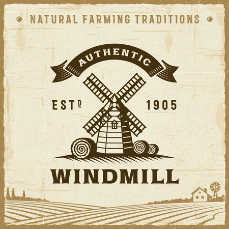 Vintage Authentic Windmill Label