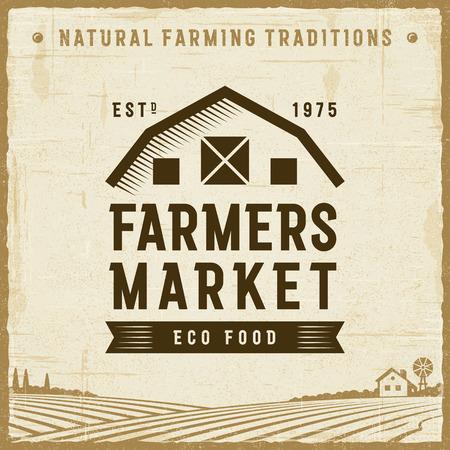 Rótulo de mercado de agricultores vintage Foto de archivo - 90280856