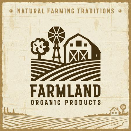 Etykieta Vintage Farmland Ilustracje wektorowe