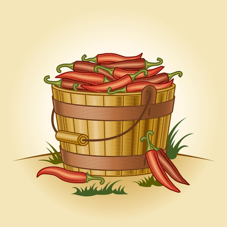Retro bucket of chili peppers