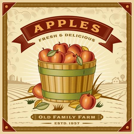Retro Apple Ernte Label Vektor-Illustration Standard-Bild - 96390678