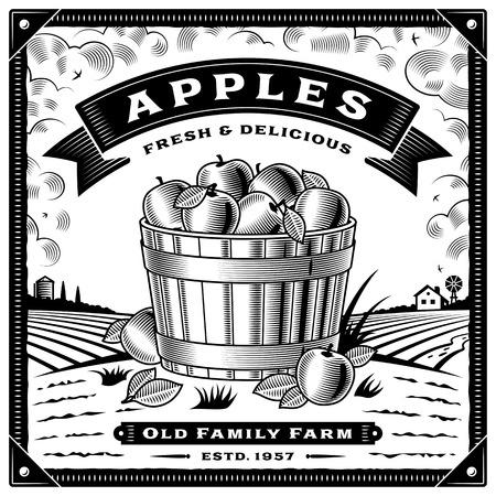 Retro apple harvest label with landscape black and white