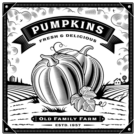 Retro pumpkin harvest label with landscape black and white