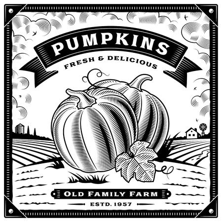 Retro pumpkin harvest label with landscape black and white