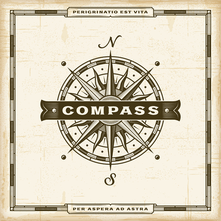 Vintage Compass Label