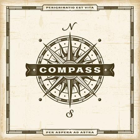 Vintage Compass Label Ilustração Vetorial
