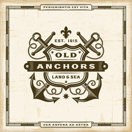 Vintage Old Anchors Label Illustration