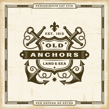 Vintage Old Anchors Label Stock Illustratie