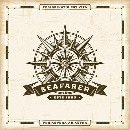 Vintage Seafarer Label poster template vector illustration.