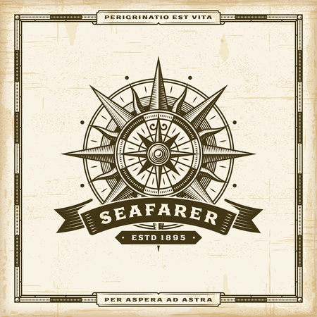 Vintage Seafarer Label poster template vector illustration.