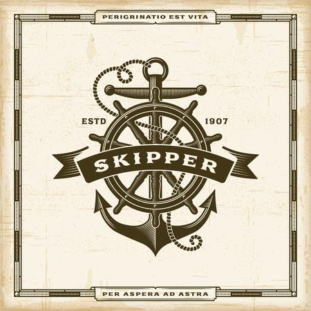 Vintage Skipper Label poster template vector illustration.
