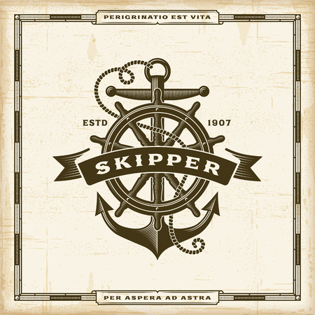 Vintage Skipper Label poster template vector illustration.