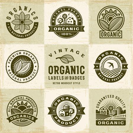 Vintage Organic Labels And Badges Set