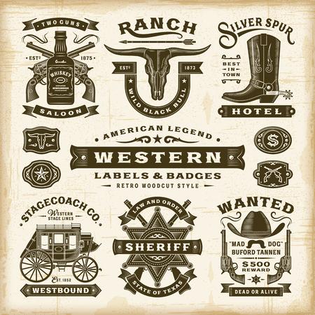 Conjunto de etiquetas e insignias occidentales vintage
