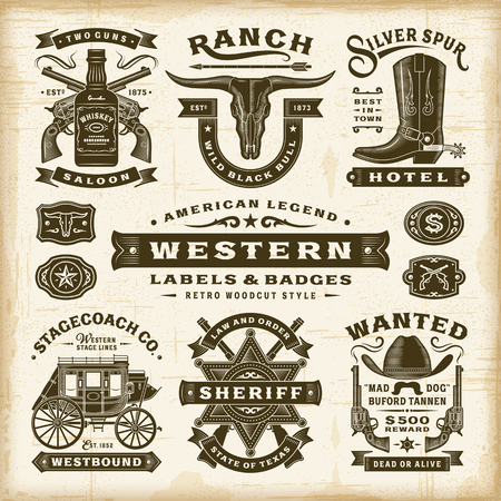Vintage Western Labels And Badges Set Foto de archivo - 104397932