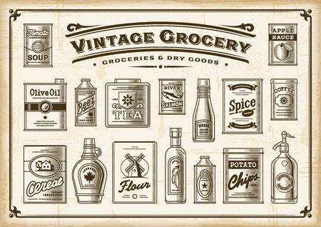 Vintage Grocery Set. One Color Illustration
