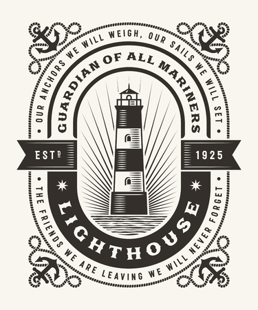 Vintage Lighthouse Typography (One Color)