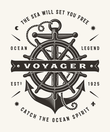 Vintage Nautical Voyager Typography (One Color)