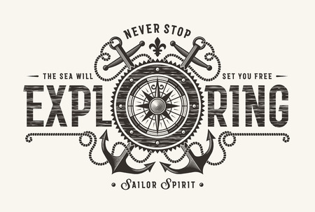 Vintage Never Stop Exploring Typography (One Color)