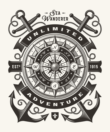 Vintage Unlimited Adventure Typography (One Color) Иллюстрация