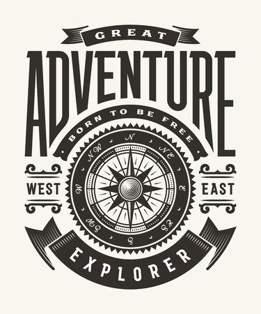 Vintage Great Adventure Typography (één kleur) Vector Illustratie