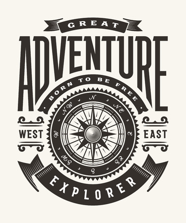 Vintage Great Adventure Typography (One Color) Stok Fotoğraf - 105520356