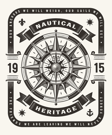Vintage Nautical Heritage Typography (One Color) Illustration