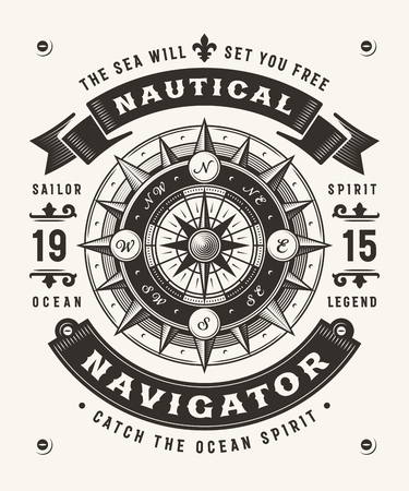 Vintage Nautical Navigator Typography (One Color)