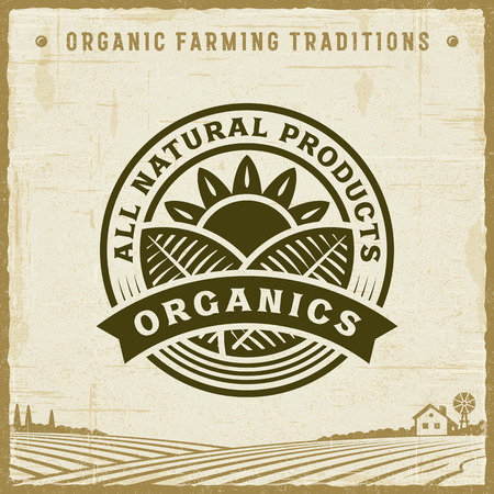 Vintage All Natural Products Organics Label