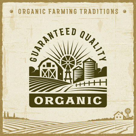 Vintage Organic Guaranteed Quality Label