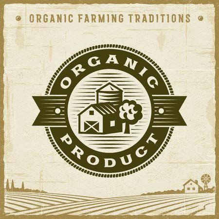 Vintage Organic Product Label Çizim