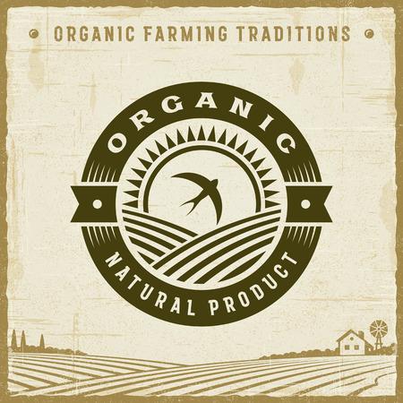Vintage Organic Natural Product Label Illustration