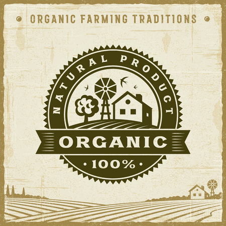 Vintage Organic 100% Natural Product Label