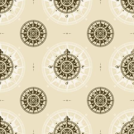 Seamless vintage nautical medieval wind rose pattern Ilustracja
