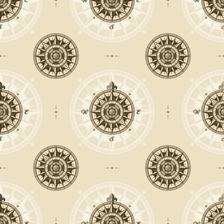 Seamless vintage nautical medieval wind rose pattern Illustration